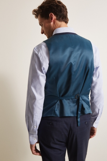 Moss Esq. Regular Fit Navy Check Waistcoat