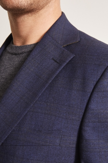 Moss 1851 Tailored Fit Navy Gold Check Jacket