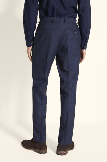 Moss 1851 Tailored Fit Navy Gold Check Trouser