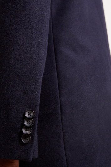 Moss London Slim Fit Navy Overcoat