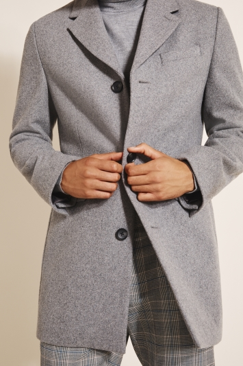 Moss London Slim Fit Light Grey Overcoat
