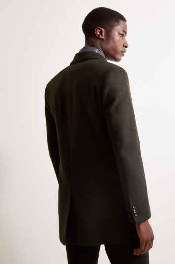 Moss London Slim Fit Dark Green Overcoat