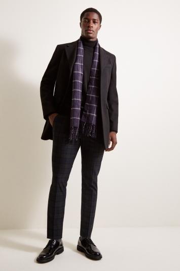Moss London Slim Fit Black Overcoat