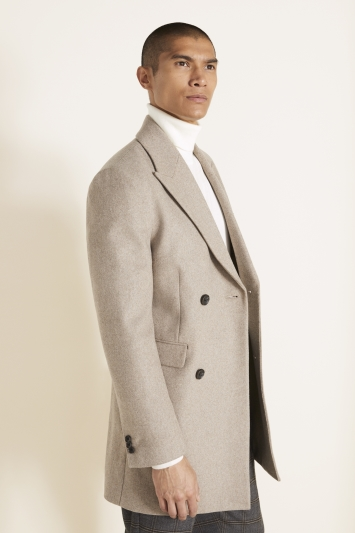 Moss London Slim Fit Oatmeal Double Breasted Overcoat
