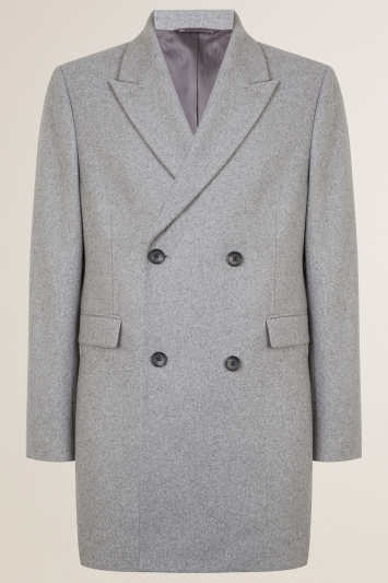 Moss London Slim Fit Light Grey Double Breasted Overcoat