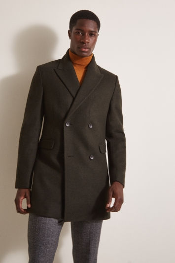 Moss London Slim Fit Dark Green Double Breasted Overcoat