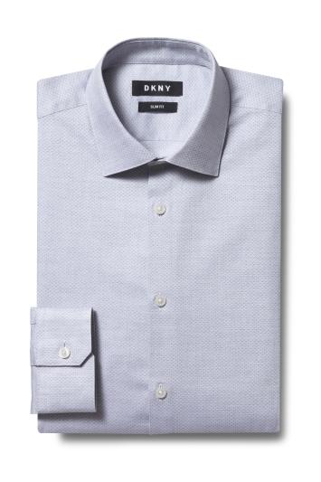 DKNY Slim Fit Grey Single Cuff Diamond Texture Shirt