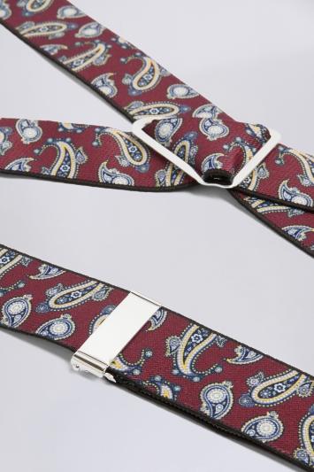 Wine Paisley Clip-On Braces