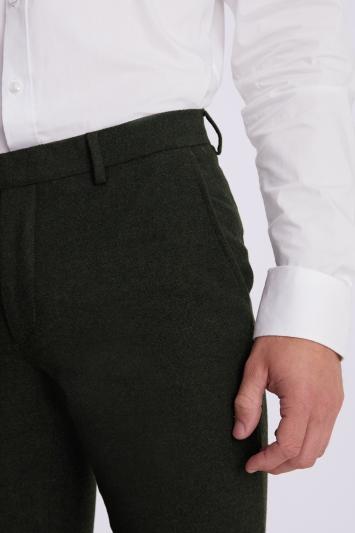 Moss London Slim Fit Khaki Donegal Trousers