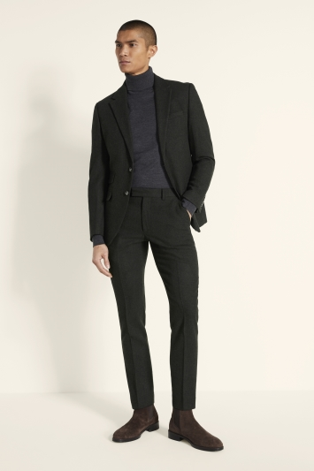 Moss London Slim Fit Khaki Donegal Tweed Jacket