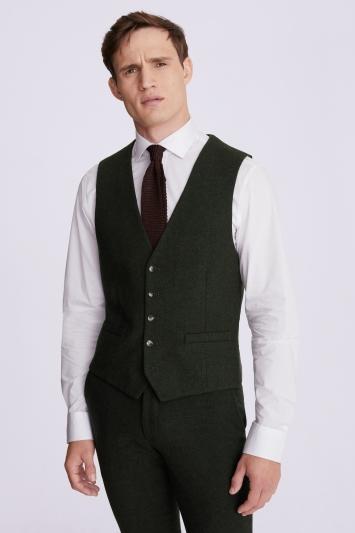 Moss London Slim Fit Khaki Donegal Waistcoat