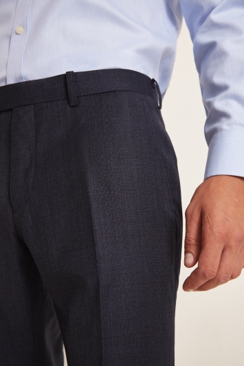 Moss 1851 Performance Tailored Fit Navy Milled Check Trousers