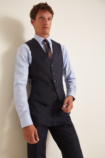 Moss 1851 Performance Tailored Fit Navy Milled Check Waistcoat