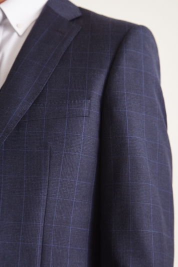 Savoy Taylors Guild Regular Fit Navy Check Jacket