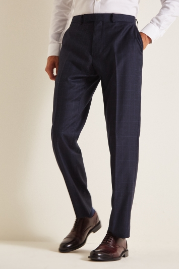 Savoy Taylors Guild Regular Fit Navy Check Trousers