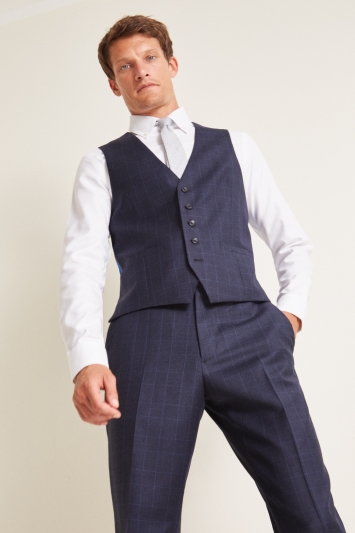 Savoy Taylors Guild Regular Fit Navy Check Waistcoat