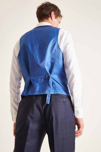 Savoy Taylors Guild Regular Fit Navy Check Waistcoat