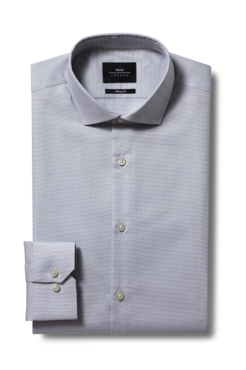 Moss London Skinny Fit Grey Single Cuff Stretch Dobby Shirt
