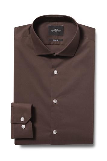 Moss London Skinny Fit Brown Single Cuff Stretch Shirt