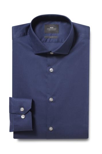 Moss London Skinny Fit Navy Single Cuff Stretch Shirt