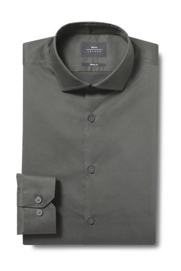 Moss London Skinny Fit Green Single Cuff Stretch Shirt