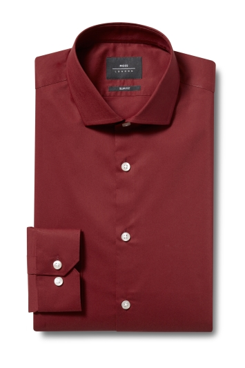 Moss London Slim Fit Rust Single Cuff Stretch Shirt