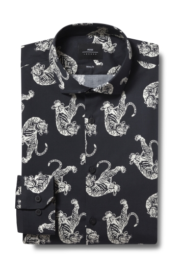 Moss London Skinny Fit Brown Single Cuff Animal Print Stretch Shirt