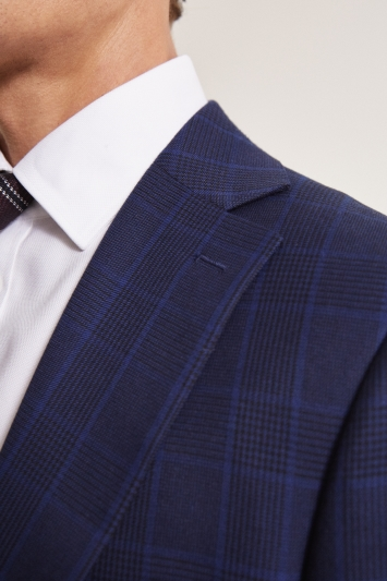 Moss 1851 Tailored Fit eco Blue Check Jacket