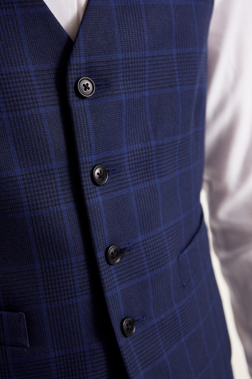 Moss 1851 Tailored Fit eco Blue Check Waistcoat