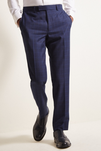 Moss London Slim Fit eco Blue Check Trousers