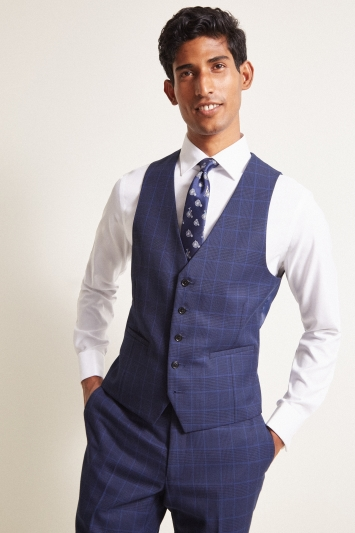 Moss London Slim Fit eco Blue Check Waistcoat