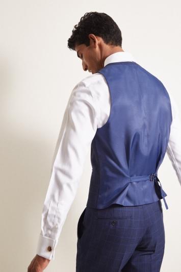 Moss London Slim Fit eco Blue Check Waistcoat
