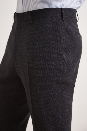 Ermenegildo Zegna Cloth Tailored Fit Charcoal Puppytooth Trousers