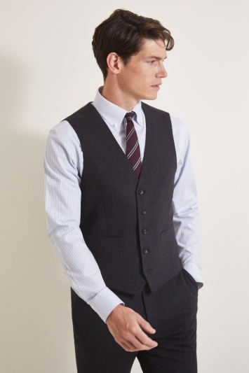Ermenegildo Zegna Cloth Tailored Fit Charcoal Puppytooth Waistcoat
