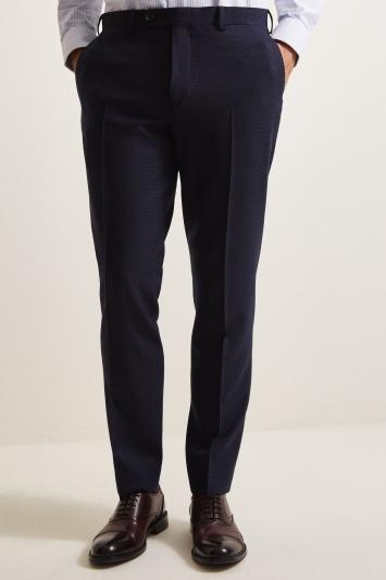 Ermenegildo Zegna Cloth Tailored Fit Blue Puppytooth Trousers