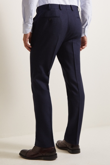Ermenegildo Zegna Cloth Tailored Fit Blue Puppytooth Trousers