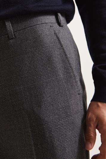 Ermenegildo Zegna Cloth Tailored Fit Charcoal Glen Check Trousers