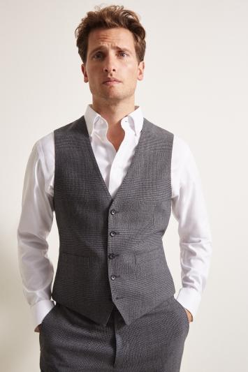 Ermenegildo Zegna Cloth Tailored Fit Charcoal Glen Check Waistcoat