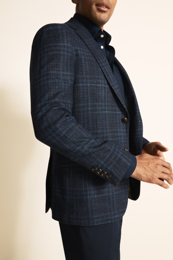 Ermenegildo Zegna Cloth Tailored Fit Blue Check Jacket
