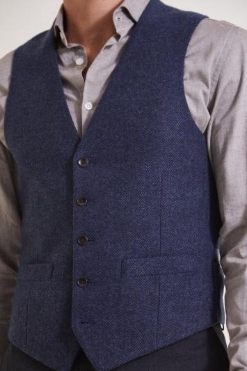 Moss 1851 Tailored Fit Navy Herringbone Waistcoat