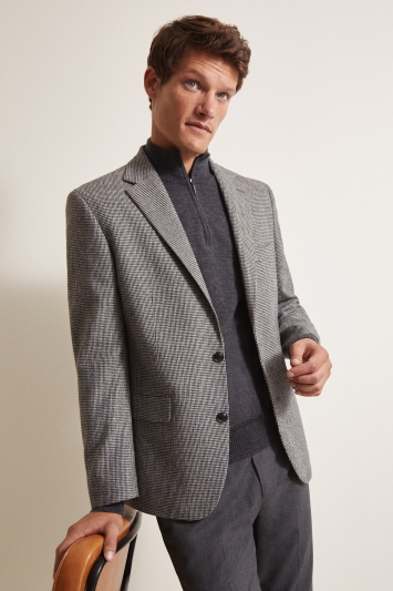 Moss 1851 Tailored Fit Grey Puppytooth Jacket