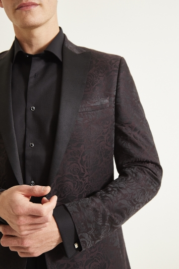 Moss 1851 Tailored Fit Burgundy Rose Jacquard Dress Jacket