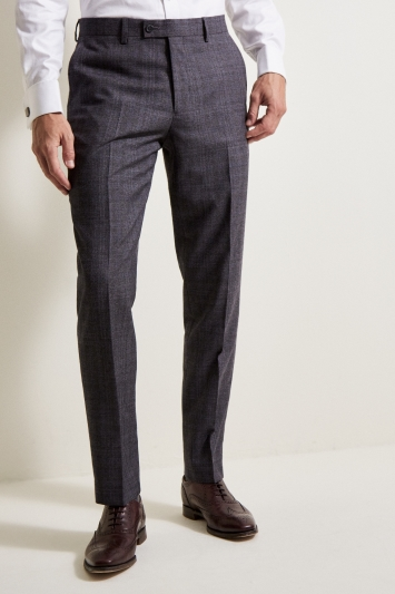 Ted Baker Tailored Fit Grey Lilac Check Trousers