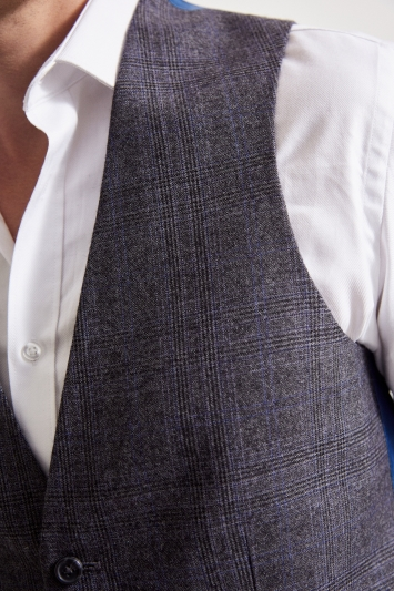 Ted Baker Tailored Fit Grey Lilac Check Waistcoat