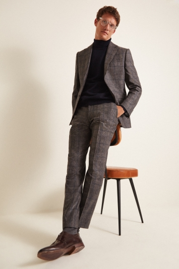 Barberis Tailored Fit Taupe Woollen Flannel Jacket