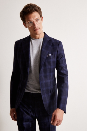 Tailored Fit Blue Check Flannel Jacket