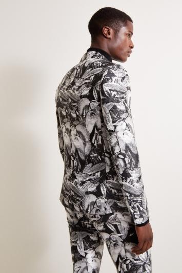 Moss London Slim Fit Black & White Heron Jacket