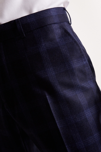Barberis Tailored Fit Blue Check Flannel Trousers