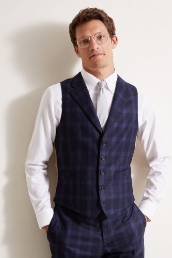 Barberis Tailored Fit Blue Check Flannel Waistcoat