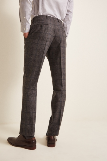 Barberis Tailored Fit Taupe Woollen Flannel Trousers